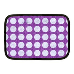 Circles1 White Marble & Purple Denim Netbook Case (medium)
