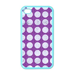 Circles1 White Marble & Purple Denim Apple Iphone 4 Case (color)