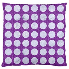 Circles1 White Marble & Purple Denim Large Cushion Case (one Side)