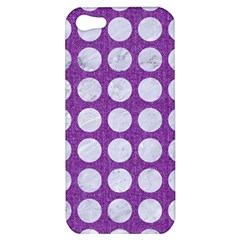 Circles1 White Marble & Purple Denim Apple Iphone 5 Hardshell Case