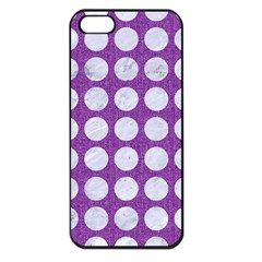 Circles1 White Marble & Purple Denim Apple Iphone 5 Seamless Case (black)