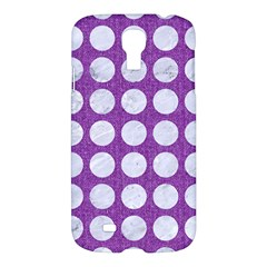Circles1 White Marble & Purple Denim Samsung Galaxy S4 I9500/i9505 Hardshell Case