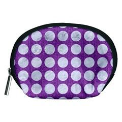 Circles1 White Marble & Purple Denim Accessory Pouches (medium)