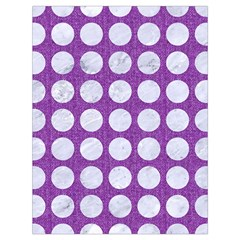 Circles1 White Marble & Purple Denim Drawstring Bag (large)