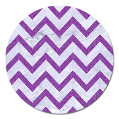 Chevron9 White Marble & Purple Denim (r) Magnet 5  (round)
