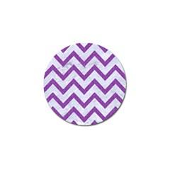 Chevron9 White Marble & Purple Denim (r) Golf Ball Marker (10 Pack)