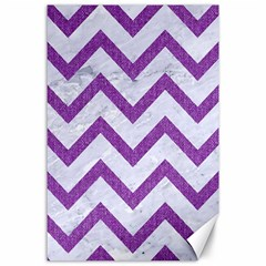 Chevron9 White Marble & Purple Denim (r) Canvas 24  X 36