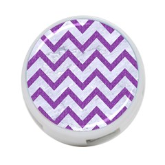 Chevron9 White Marble & Purple Denim (r) 4 Port Usb Hub (two Sides)