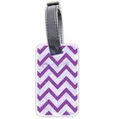 Chevron9 White Marble & Purple Denim (r) Luggage Tags (two Sides) by trendistuff