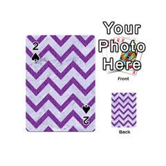 Chevron9 White Marble & Purple Denim (r) Playing Cards 54 (mini)