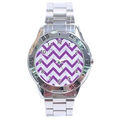 Chevron9 White Marble & Purple Denim (r) Stainless Steel Analogue Watch by trendistuff