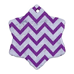 Chevron9 White Marble & Purple Denim (r) Snowflake Ornament (two Sides)