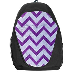 Chevron9 White Marble & Purple Denim (r) Backpack Bag