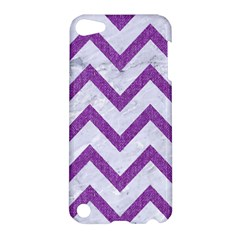 Chevron9 White Marble & Purple Denim (r) Apple Ipod Touch 5 Hardshell Case by trendistuff