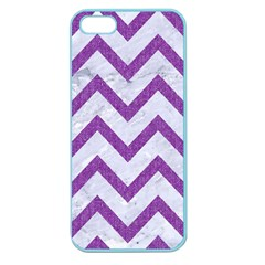 Chevron9 White Marble & Purple Denim (r) Apple Seamless Iphone 5 Case (color)