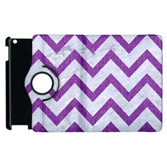 Chevron9 White Marble & Purple Denim (r) Apple Ipad 2 Flip 360 Case