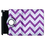 CHEVRON9 WHITE MARBLE & PURPLE DENIM (R) Apple iPad 2 Flip 360 Case Front