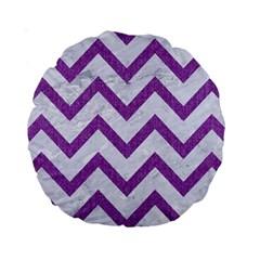 Chevron9 White Marble & Purple Denim (r) Standard 15  Premium Round Cushions