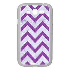 Chevron9 White Marble & Purple Denim (r) Samsung Galaxy Grand Duos I9082 Case (white)
