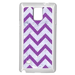 Chevron9 White Marble & Purple Denim (r) Samsung Galaxy Note 4 Case (white)
