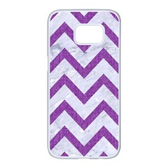 Chevron9 White Marble & Purple Denim (r) Samsung Galaxy S7 Edge White Seamless Case by trendistuff
