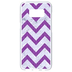 Chevron9 White Marble & Purple Denim (r) Samsung Galaxy S8 White Seamless Case by trendistuff