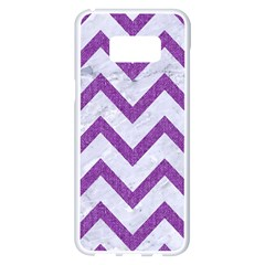 Chevron9 White Marble & Purple Denim (r) Samsung Galaxy S8 Plus White Seamless Case by trendistuff