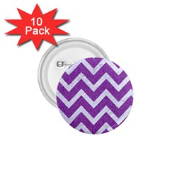Chevron9 White Marble & Purple Denimchevron9 White Marble & Purple Denim 1 75  Buttons (10 Pack)
