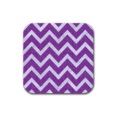 Chevron9 White Marble & Purple Denimchevron9 White Marble & Purple Denim Rubber Coaster (square)