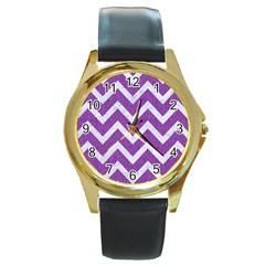 Chevron9 White Marble & Purple Denimchevron9 White Marble & Purple Denim Round Gold Metal Watch