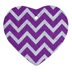 Chevron9 White Marble & Purple Denimchevron9 White Marble & Purple Denim Heart Ornament (two Sides)