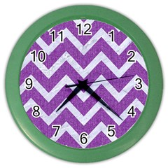 Chevron9 White Marble & Purple Denimchevron9 White Marble & Purple Denim Color Wall Clocks