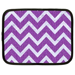 Chevron9 White Marble & Purple Denimchevron9 White Marble & Purple Denim Netbook Case (xl)