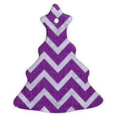 Chevron9 White Marble & Purple Denimchevron9 White Marble & Purple Denim Ornament (christmas Tree)