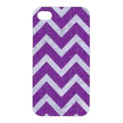 Chevron9 White Marble & Purple Denimchevron9 White Marble & Purple Denim Apple Iphone 4/4s Hardshell Case