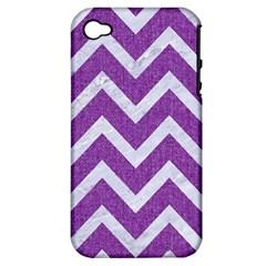 Chevron9 White Marble & Purple Denimchevron9 White Marble & Purple Denim Apple Iphone 4/4s Hardshell Case (pc+silicone)