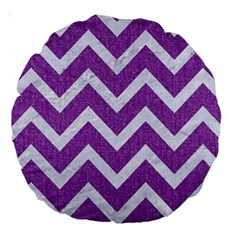 Chevron9 White Marble & Purple Denimchevron9 White Marble & Purple Denim Large 18  Premium Round Cushions