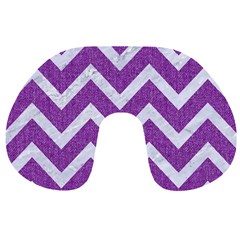 Chevron9 White Marble & Purple Denimchevron9 White Marble & Purple Denim Travel Neck Pillows by trendistuff