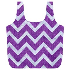 Chevron9 White Marble & Purple Denimchevron9 White Marble & Purple Denim Full Print Recycle Bags (l)