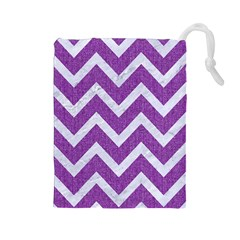 Chevron9 White Marble & Purple Denimchevron9 White Marble & Purple Denim Drawstring Pouches (large)  by trendistuff