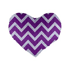 Chevron9 White Marble & Purple Denimchevron9 White Marble & Purple Denim Standard 16  Premium Flano Heart Shape Cushions