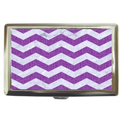 Chevron3 White Marble & Purple Denim Cigarette Money Cases by trendistuff
