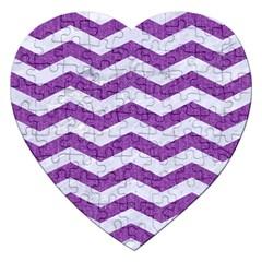 Chevron3 White Marble & Purple Denim Jigsaw Puzzle (heart)