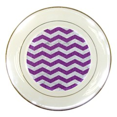 Chevron3 White Marble & Purple Denim Porcelain Plates