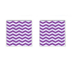 Chevron3 White Marble & Purple Denim Cufflinks (square) by trendistuff