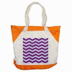 Chevron3 White Marble & Purple Denim Accent Tote Bag