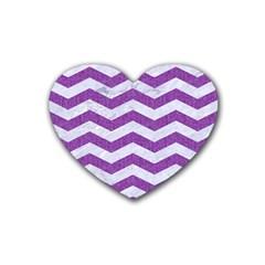 Chevron3 White Marble & Purple Denim Rubber Coaster (heart)