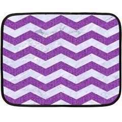 Chevron3 White Marble & Purple Denim Fleece Blanket (mini)