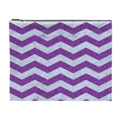 Chevron3 White Marble & Purple Denim Cosmetic Bag (xl)