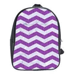 Chevron3 White Marble & Purple Denim School Bag (large)